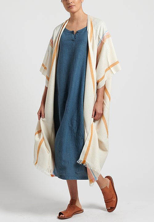 Oska Linen Evene Long Dress in Blue