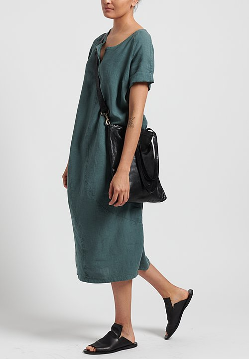 Oska Linen Evene Long Dress in Green