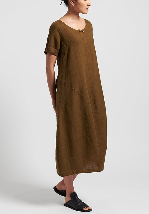 Oska Linen Evene Long Dress in Savanna