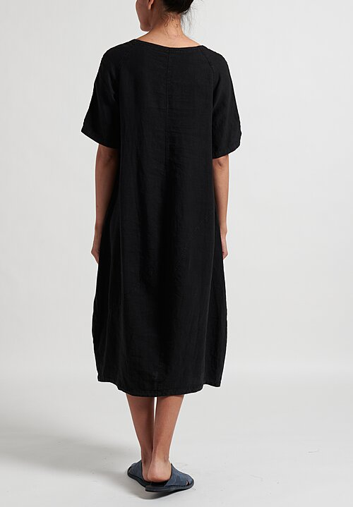 Oska Linen Evene Long Dress in Black