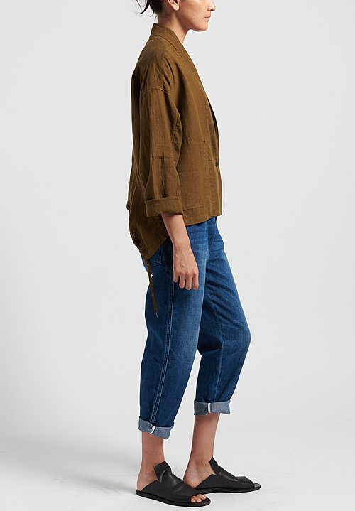 Oska Linen Alberte Jacket in Brown