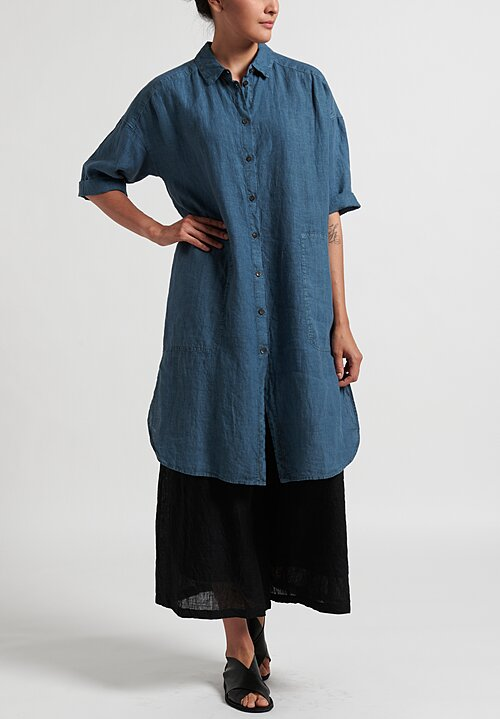Oska Linen Elvina Shirt Dress in River