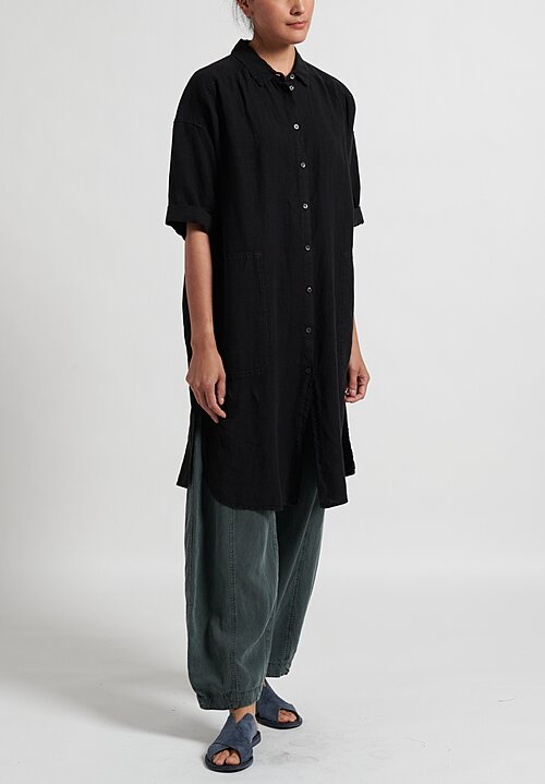 Oska Linen Elvina Shirt Dress in Black
