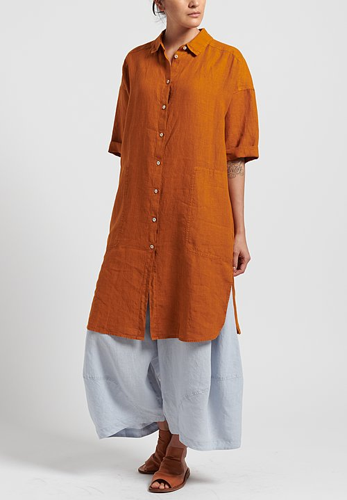 Oska Linen Elvina Shirt Dress in Marigold