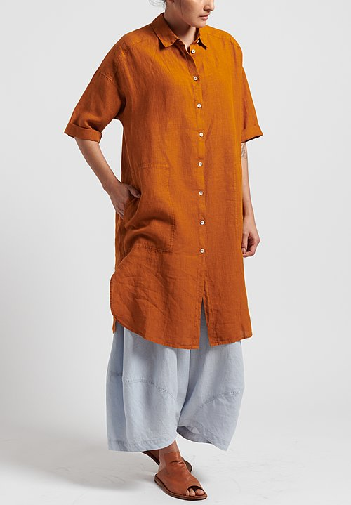 Oska Linen Elvina Shirt Dress in Orange