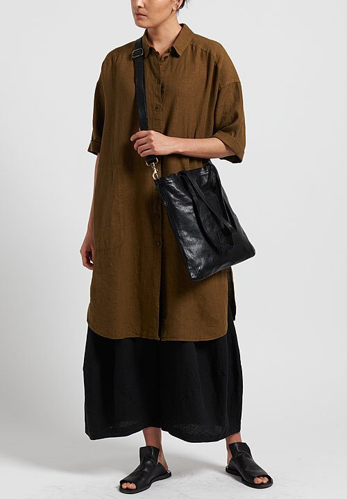 Oska Linen Elvina Shirt Dress in Savanna