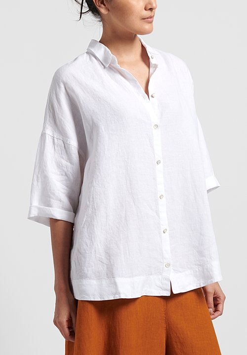 Oska Linen Oversize Blouse in White