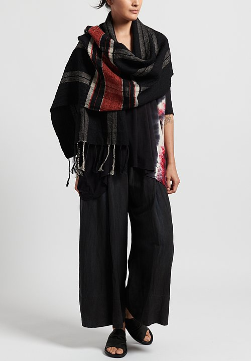 Merino/Linen/ Old Japanese Silk Aries Scarf in Black/Red