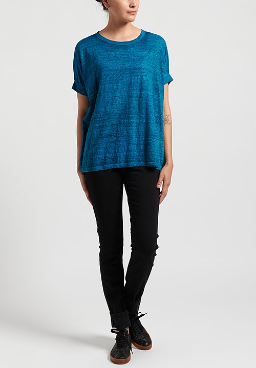 Avant Toi Linen Knit Boxy Tee in Lapis Blue