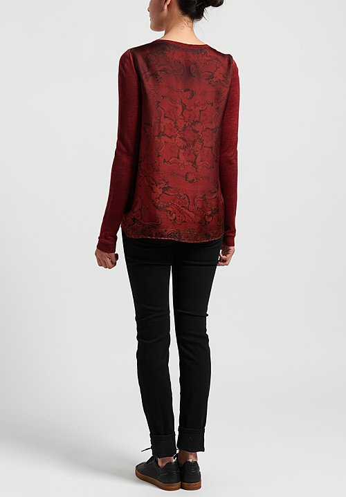 Avant Toi Cashmere/ Silk Printed Back V-Neck Sweater in Nero/ Melograno/ Seashell