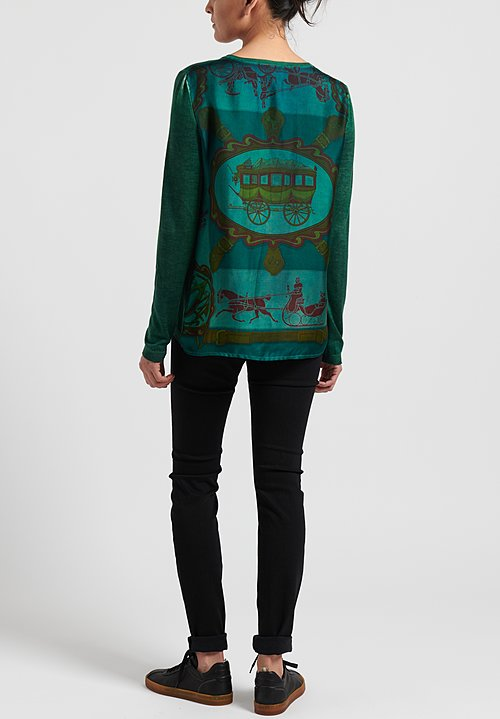Avant Toi Cashmere/ Silk Printed Back V-Neck Sweater in Nero/ Smeraldo/ Carriage