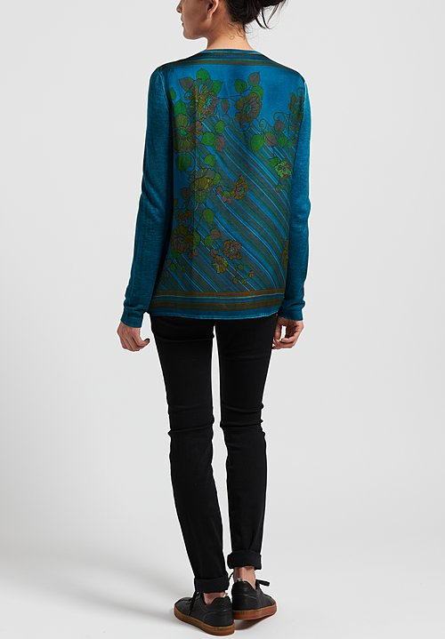 Avant Toi Cashmere/ Silk Printed Back V-Neck Sweater in Nero/ Turchese/ Floral	Regular: $825.00 Sweaters	0