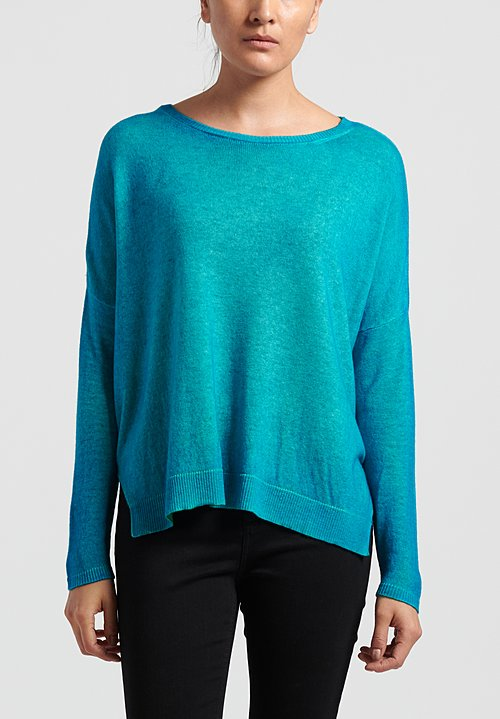Avant Toi Cashmere Oversized Lightweight Sweater in Terchase/ Smeraldo