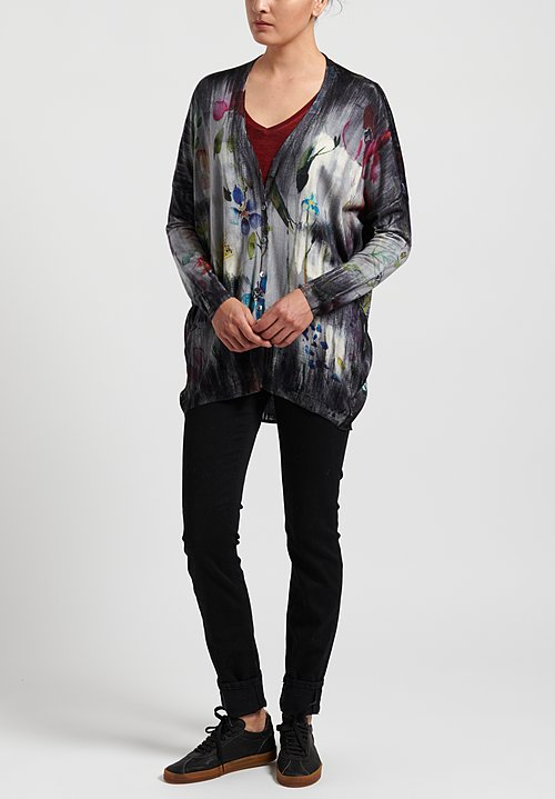 Avant Toi Cashmere/Silk Floral Tapestry Cardigan in Marmo