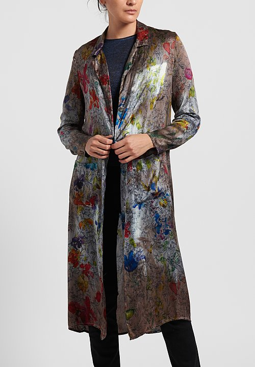 Avant Toi Silk Floral Tapestry Duster in Grey