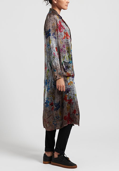 Avant Toi Silk Floral Tapestry Duster in Greige