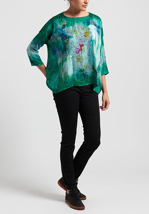 Avant Toi Silk 3/4 Sleeve Floral Tapestry Top in Smeraldo