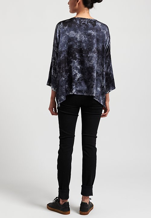 Avant Toi Silk 3/4 Sleeve Camouflage Top in Marmo