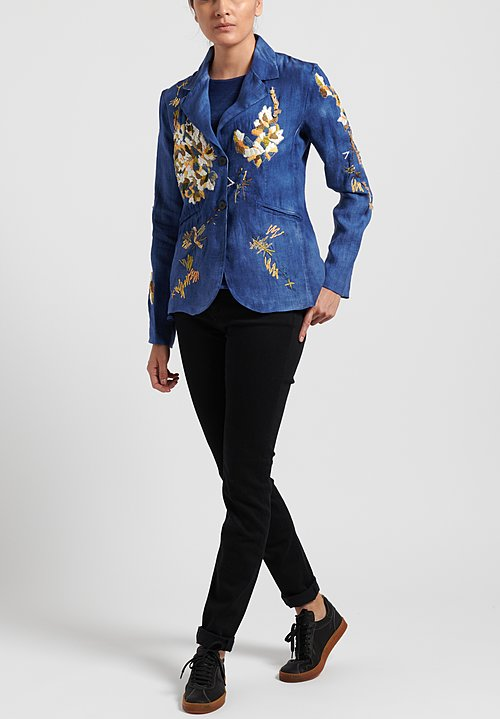 Avant Toi Hemp Embroidered Jacket in Nero/ Denim
