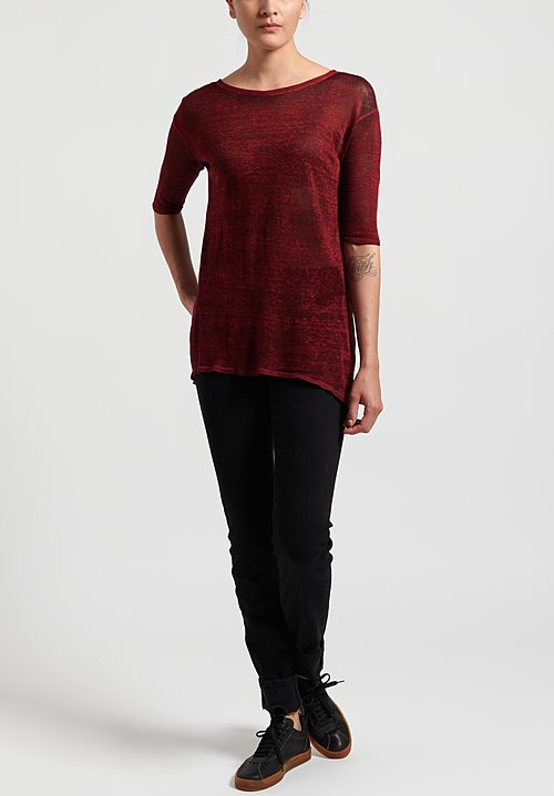 Avant Toi Linen Knit Long Top in Nero/ Melograno