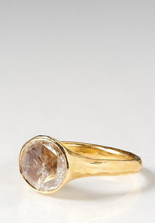 Ram Rijal 22K, Round White Diamond Hammered Ring