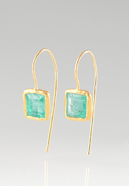 Ram Rijal 22K, Emerald French Hook Earrings
