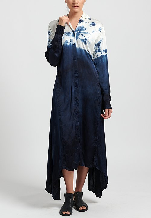 Gilda Midani Pattern Dyed Silk Jurei Dress in Sky Wave