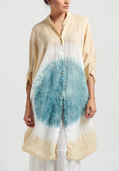 Gilda Midani Pattern Dyed Linen Square Organdy Dress in Circle Ocean Hot Sand