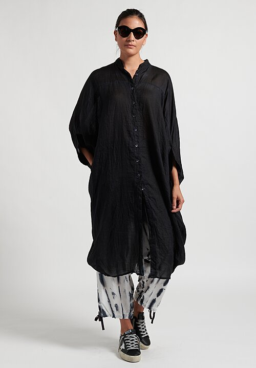 Gilda Midani Solid Dyed Linen Square Tunic in Black