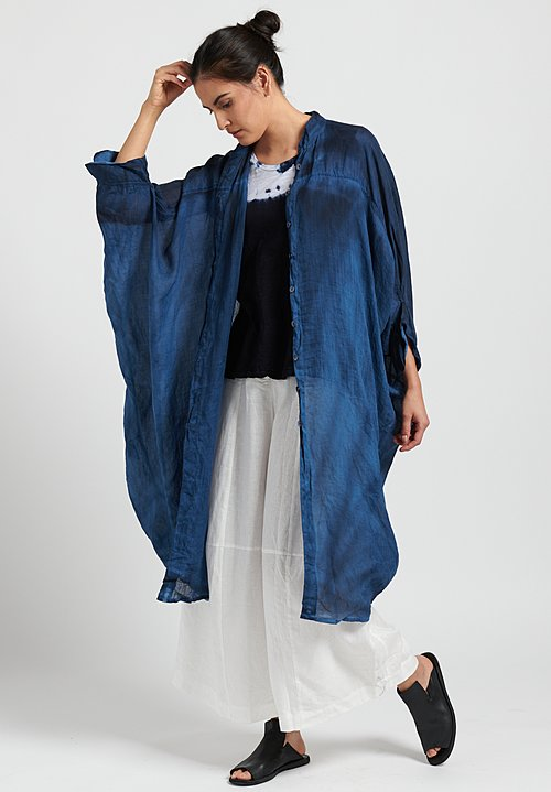 Gilda Midani Solid Dyed Linen Square Dress in Indigo Blue