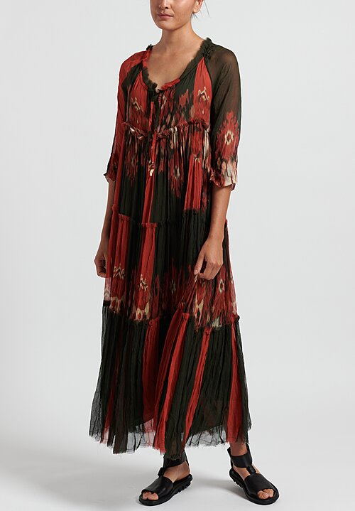 Gilda Midani Pattern Dyed Silk Paysanne Dress in Red
