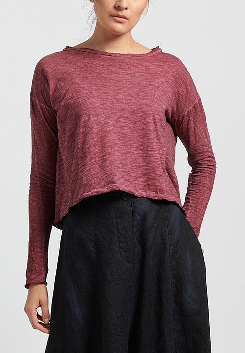 Gilda Midani Solid Dyed Long Sleeve Trapeze Tee in Pepper