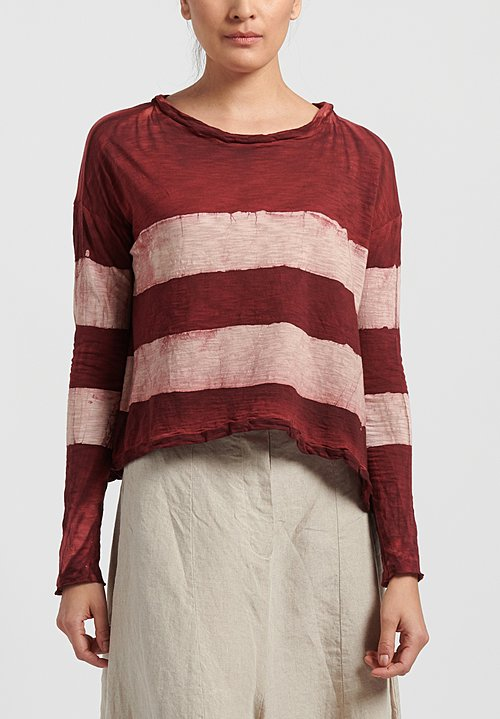 Gilda Midani Pattern Dyed Long Sleeve Trapeze Tee in Stripes Mellow Rose + Pepper
