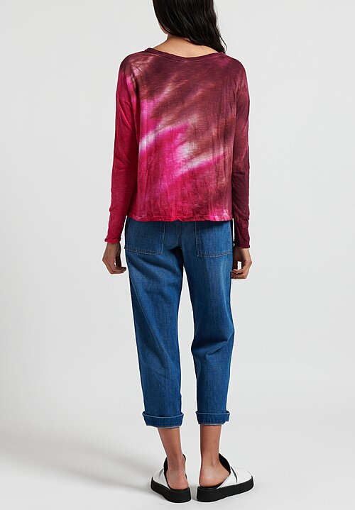 Gilda Midani Pattern Dyed Long Sleeve Trapeze Tee in Laser