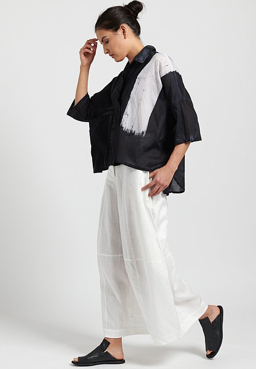 Gilda Midani Pattern Dyed Cotton Voile Pocket Shirt in Brush White + Black
