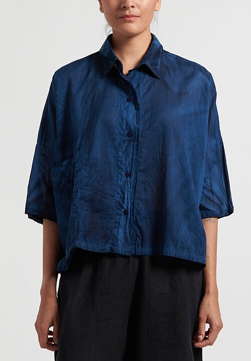 Gilda Midani Solid Dyed Cotton Voile Pocket Shirt in Indigo Blue