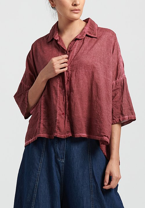 Gilda Midani Solid Dyed Cotton Voile Pocket Shirt in Pepper
