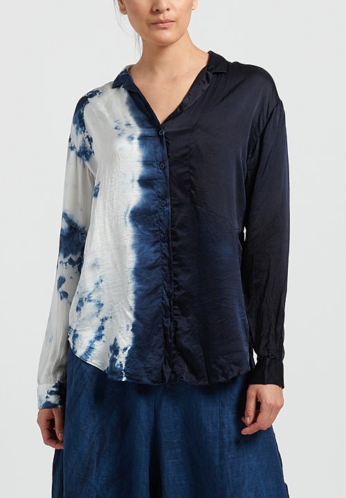 Gilda Midani Pattern Dyed Silk Classic Shirt in Blue