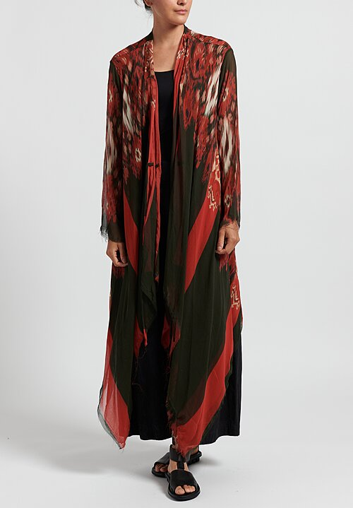 Gilda Midani Pattern Dyed Silk Layers Top in Ikat Red
