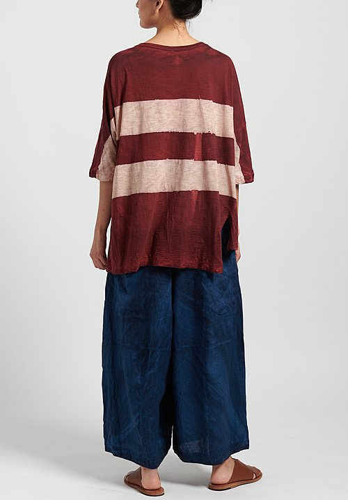 Gilda Midani Pattern Dyed Short Sleeve Super Tee in Stripes Mellow Rose + Pepper