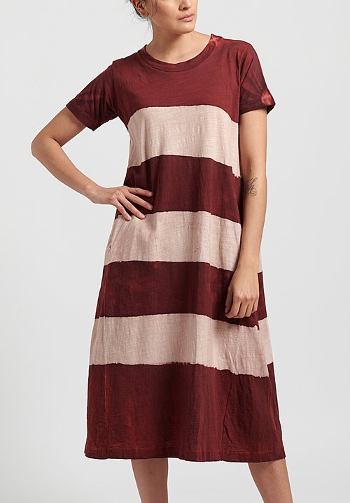 Gilda Midani Pattern Dyed Short Sleeve Maria Dress in Stripes Mellow Rose + Pepper