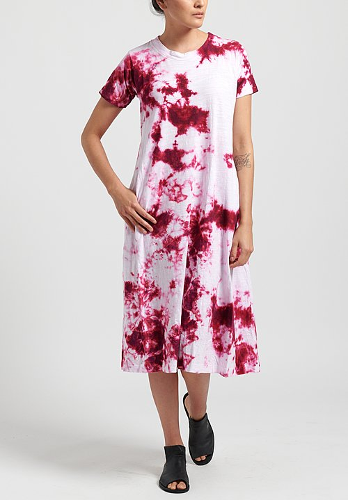 Gilda Midani Pattern Dyed Short Sleeve Maria Dress in Fractals