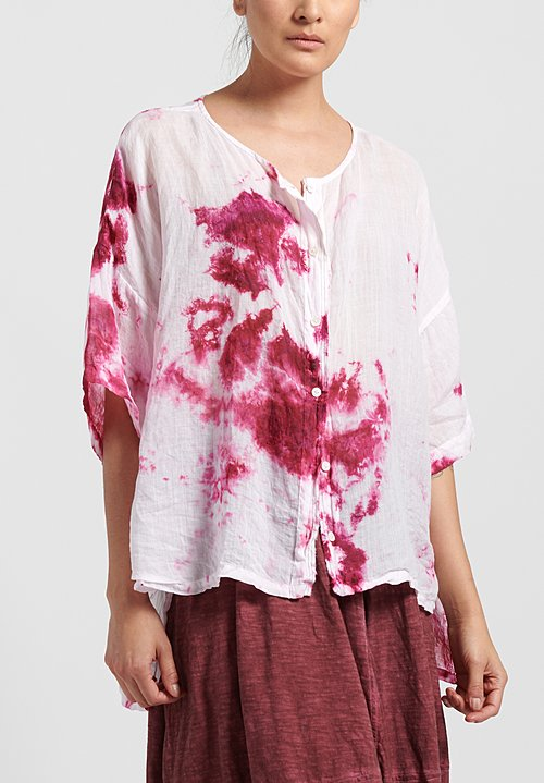 Gilda Midani Pattern Dyed Linen Button-Down Super Shirt in Pink