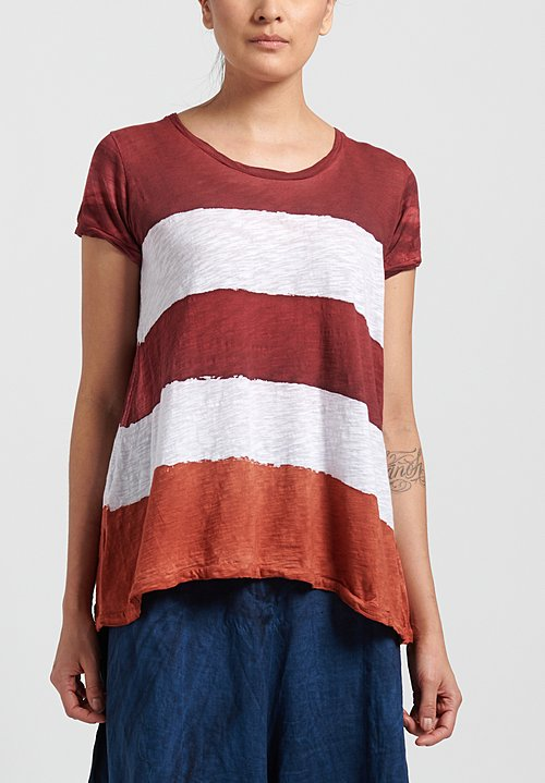 Gilda Midani Pattern Dyed Short Sleeve Monoprix Tee in Stripes Burn + Pepper + White