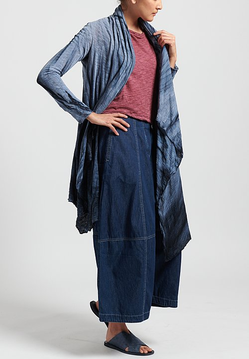 Gilda Midani Solid Dyed Long Karan Cardigan in Marble Steel Blue