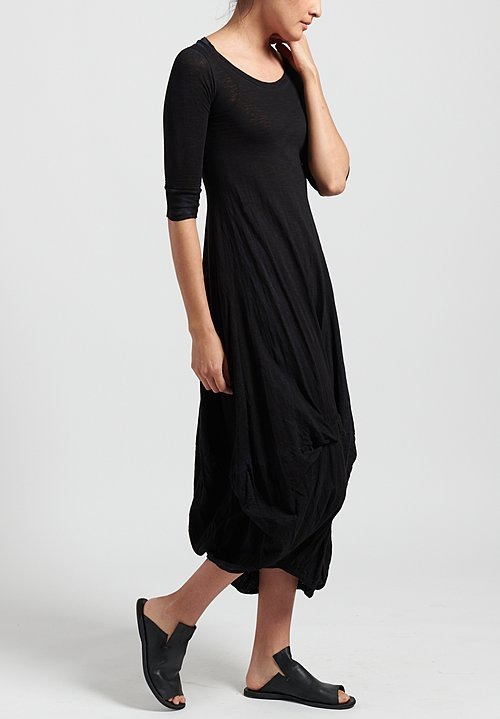 Gilda Midani Solid Dyed 3/4 Sleeve Balloon Dress in Black