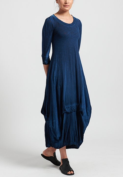 Gilda Midani Solid Dyed 3/4 Sleeve Balloon Dress in Indigo Blue