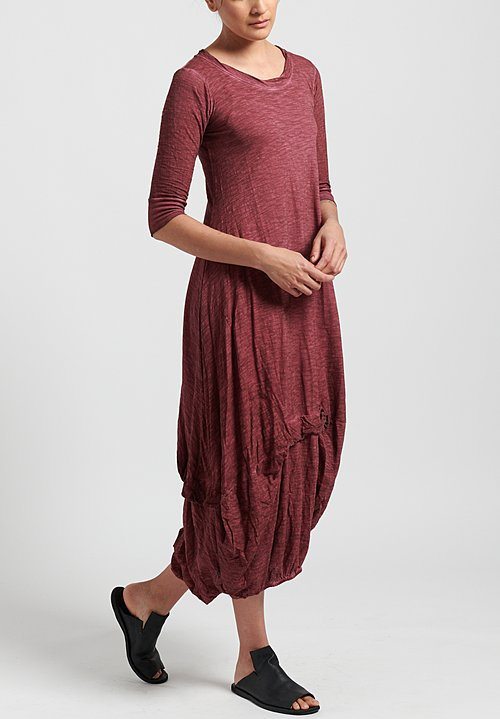 Gilda Midani Solid Dyed 3/4 Sleeve Balloon Dress in Pepper