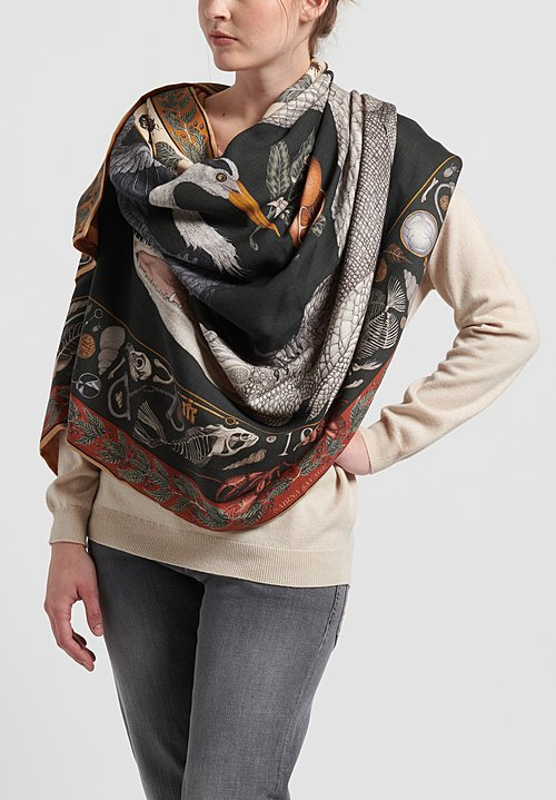 Sabina Savage Cashmere Backed Alligator's Empire Scarf in Laurel/Canvas