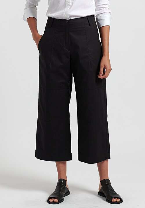 Annette Gortz Cotton Cropped Taja Pants in Nero
